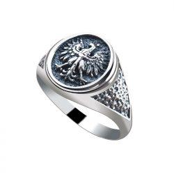 Pierścionek srebrny sygnet Orzeł PB 395