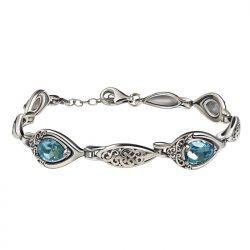 Bransoletka srebrna swarovski aquamarine