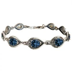 Srebrna oksydowana bransoletka z kryształami Swarovski L 2030