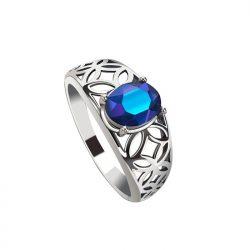 Pierścionek srebrny PK 2096 z kryształem Cobalt AB
