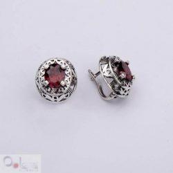 Kolczyki srebrne z cyrkoniami K3 1569 Czerwony