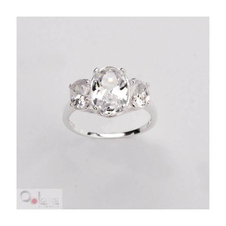 Srebro pierścionek cyrkonie PK 399 Biały