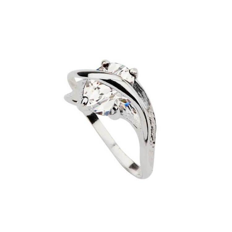 Srebrny pierścionek z cyrkoniami PK 1638 Biały