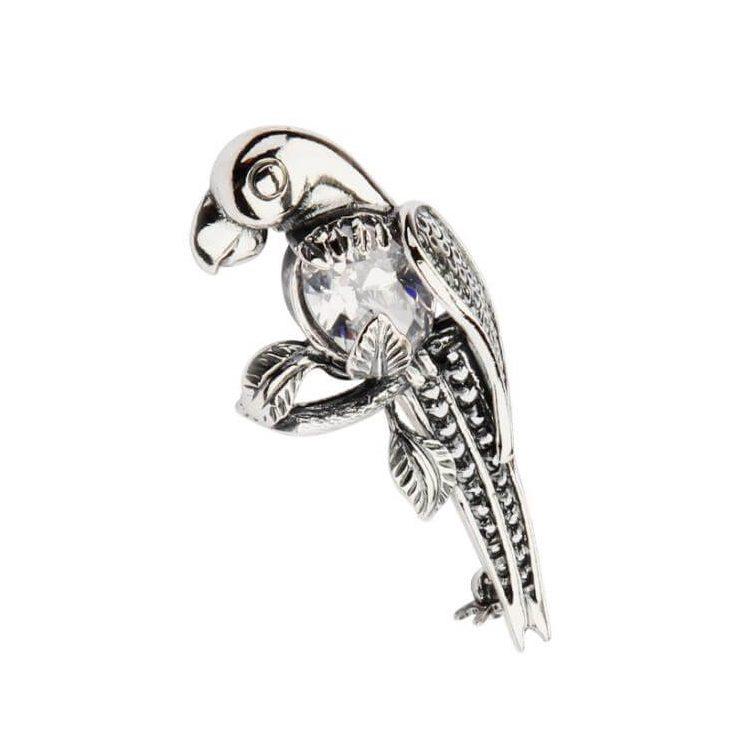 Broszka srebrna z cyrkoniami Papuga B 129