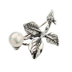 Broszka srebrna Kwiatek zdobiona Perłą BK 91 Perła