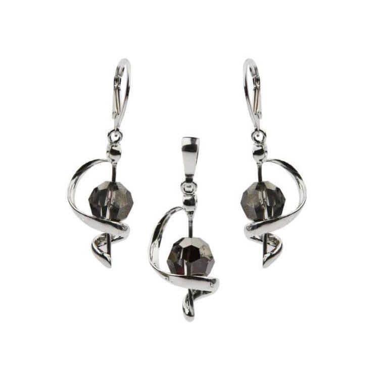 Komplet srebrny zdobiony kryształami Swarovskiego KPL 970 Silver Night