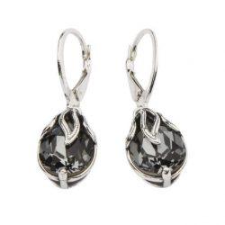 Kolczyki srebrne z kryształami Swarovskiego K 1643 Silver Night