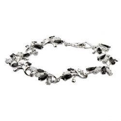 Bransoletka srebrna z cyrkoniami L 1635 Biało-czarny