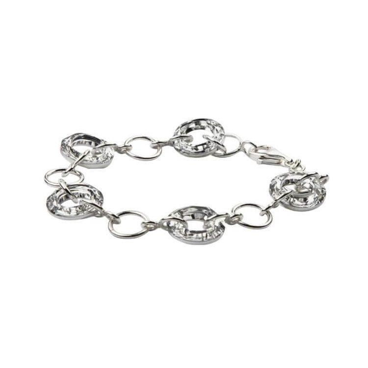 Bransoletka srebrna zdobiona kryształami Swarovskiego L 1502 Cal Crystal