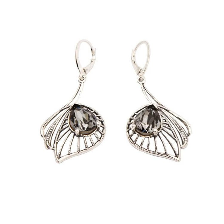 Kolczyki srebrne z kryształami Swarovskiego K 1644 Silver Night