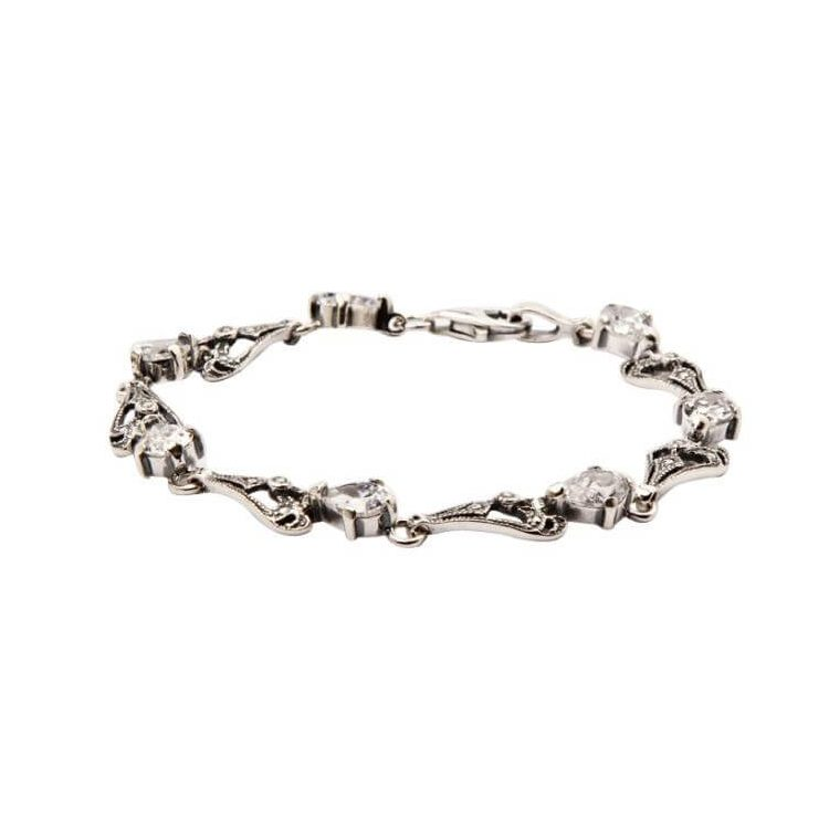 Bransoletka srebro cyrkonie L 1544