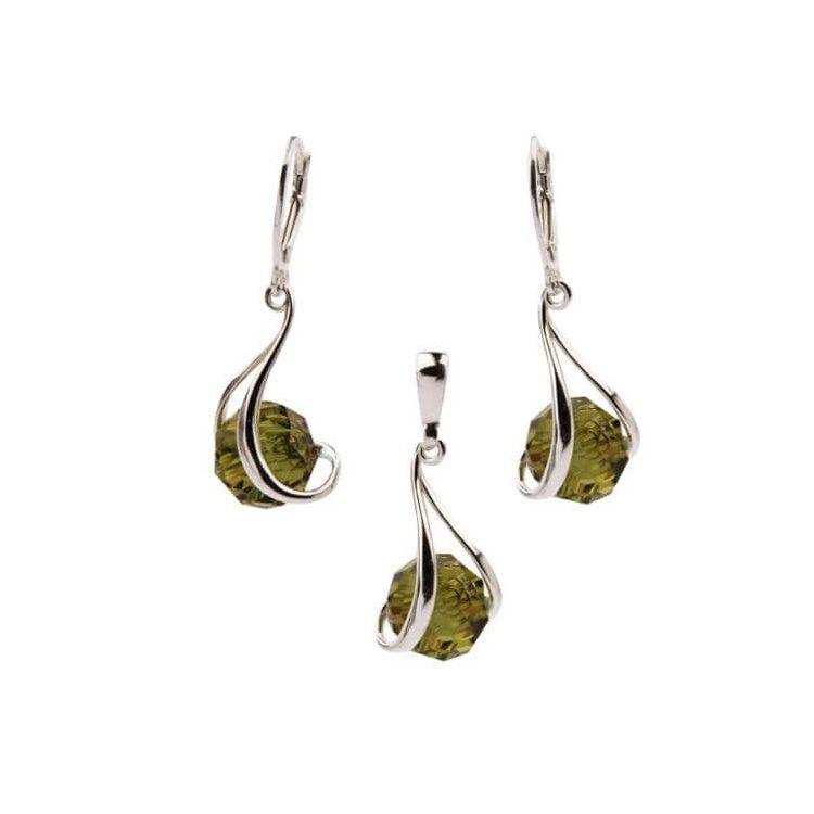 Srebrny komplet z kryształami Swarovskiego Crystal KPL 1121 Olivine