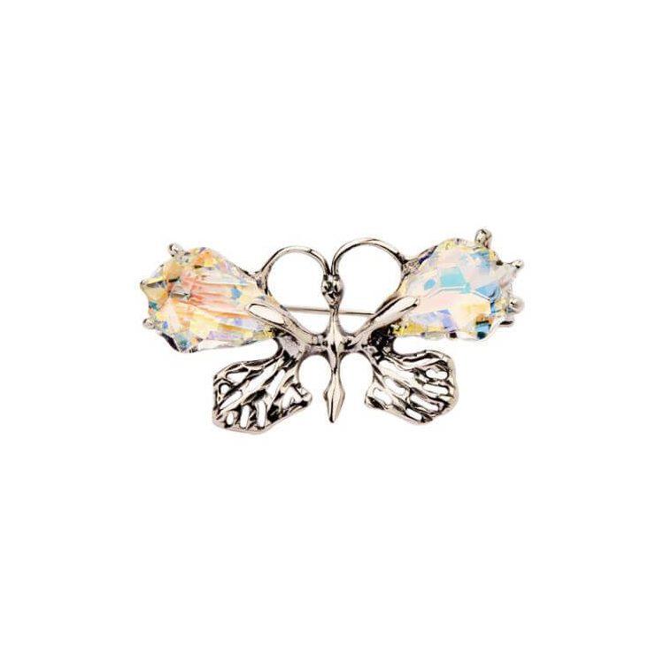 Broszka srebrna Motyl zdobiona kryształem Swarovskiego B 149 Crystal AB