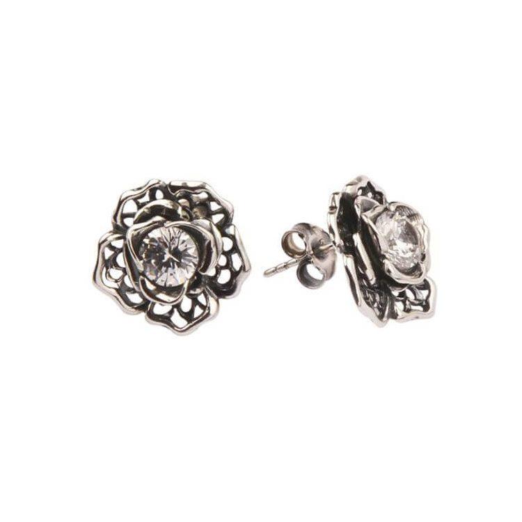 Kolczyki srebrne z cyrkoniami K1 1645 Biały