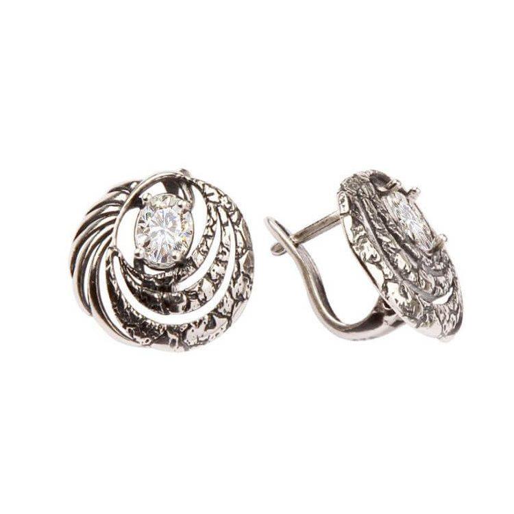 Kolczyki srebrne z cyrkoniami K2 1650 Biały