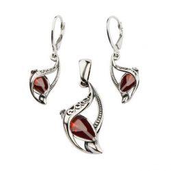 Biżuteria srebrna komplet z cyrkoniami KPL 1648 czerwony