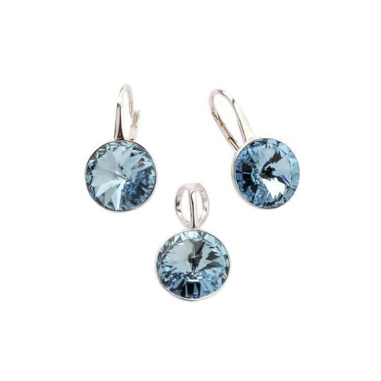 Srebrny komplet (kolczyki i wisiorek) z kryształami Swarovskiego KPL 1670 Aquamarine