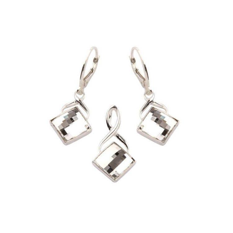 Komplet srebrny (kolczyki+wisiorek) KPL 701 z kryształami Swarovskiego Crystal