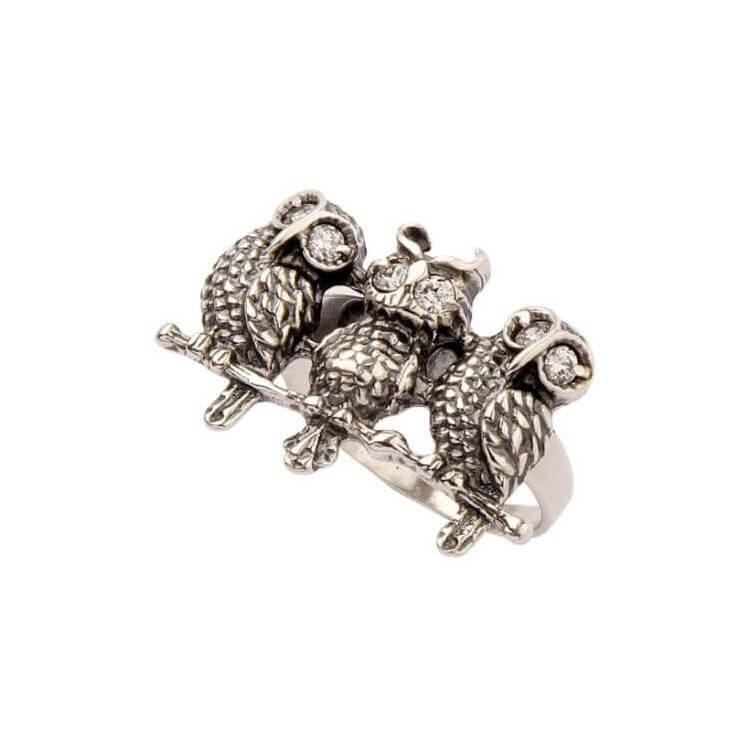 Pierścionek srebrny SOWA z cyrkoniami PK 1168