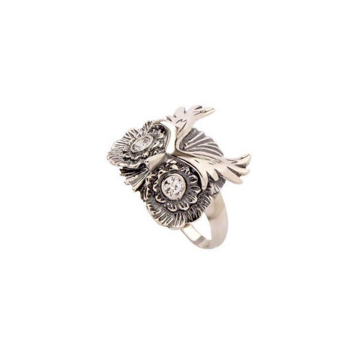 Srebrny pierścionek SOWA zdobiony cyrkonią PK 1666