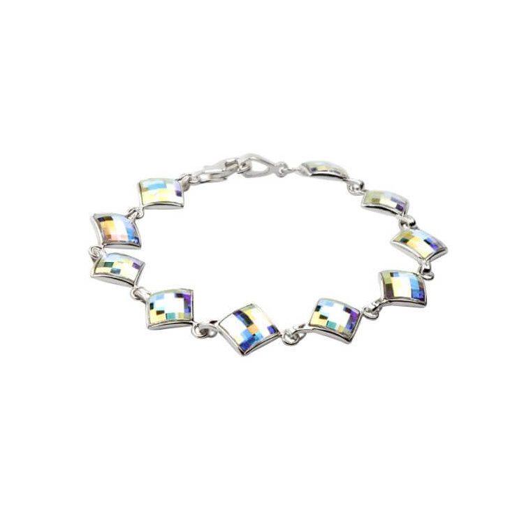 Srebrna bransoletka z kryształami Swarovskiego L 1583 Crystal AB