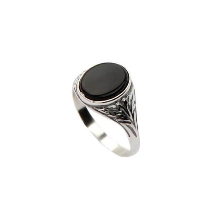 Pierścionek srebrny sygnet zdobiony Onyksem PB 291 Onyks
