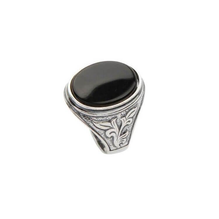 Pierścionek srebrny sygnet zdobiony Onyksem PB 290 Onyks