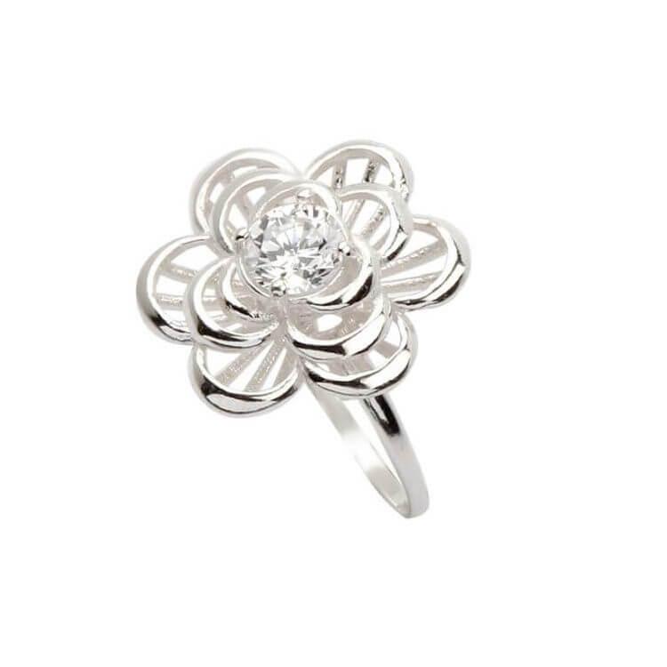 Pierścionek srebrny kwiatek PK 1680 Cyrkonia