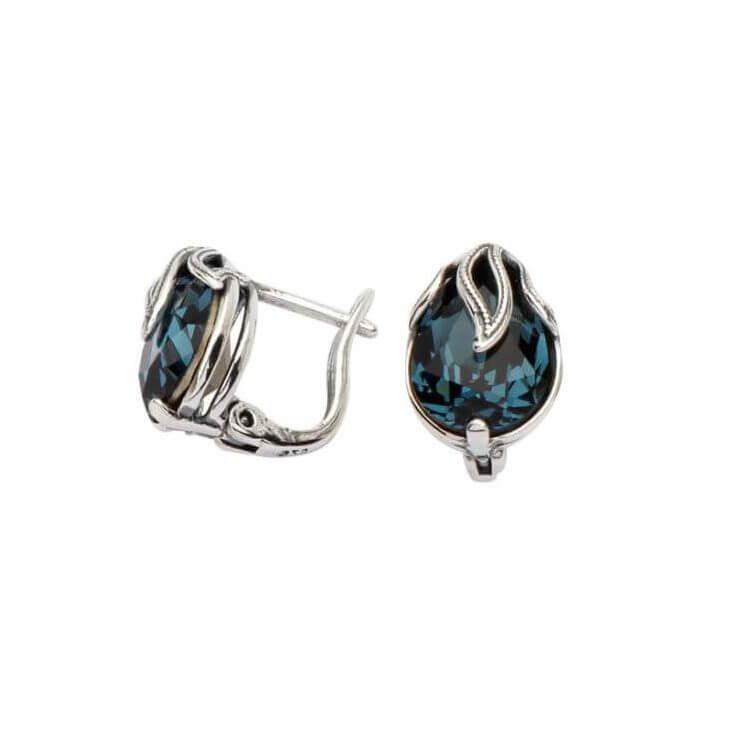 Kolczyki srebrne z kryształami Swarovskiego K3 1643 Montana