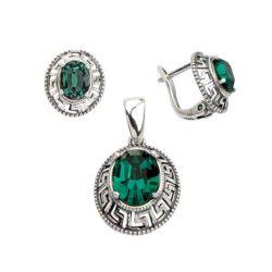 Srebrny komplet (kolczyki i wisiorek) z kryształami Swarovskiego KPL 1699 Emerald