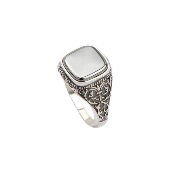 Pierścionek srebrny sygnet PB 332 Krzem
