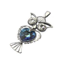 Srebrny wisiorek z kryształami Swarovskiego SOWA W 1182