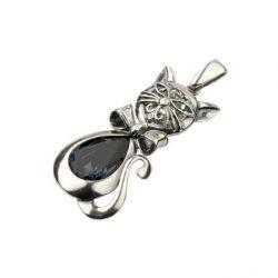 Srebrny wisiorek z kryształem Swarovskiego KOT W 1184 Montana