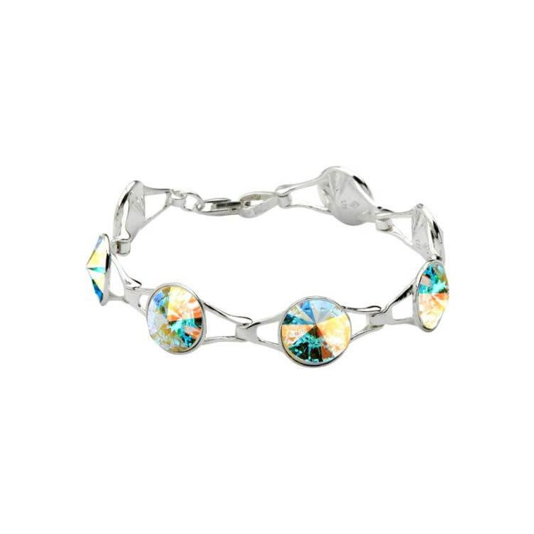 Srebrna bransoletka z kryształami Swarovskiego L 1670 Crystal AB