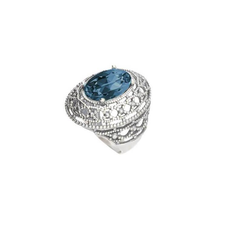 Srebrny pierścionek z kryształami Swarovskiego PK 1777 Montana