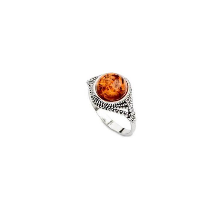 Srebrny pierścionek z bursztynem PK 1802