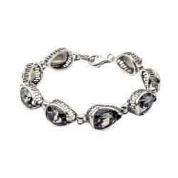 Bransoletka srebrna z kryształami Swarovskiego L 1595 Silver Night