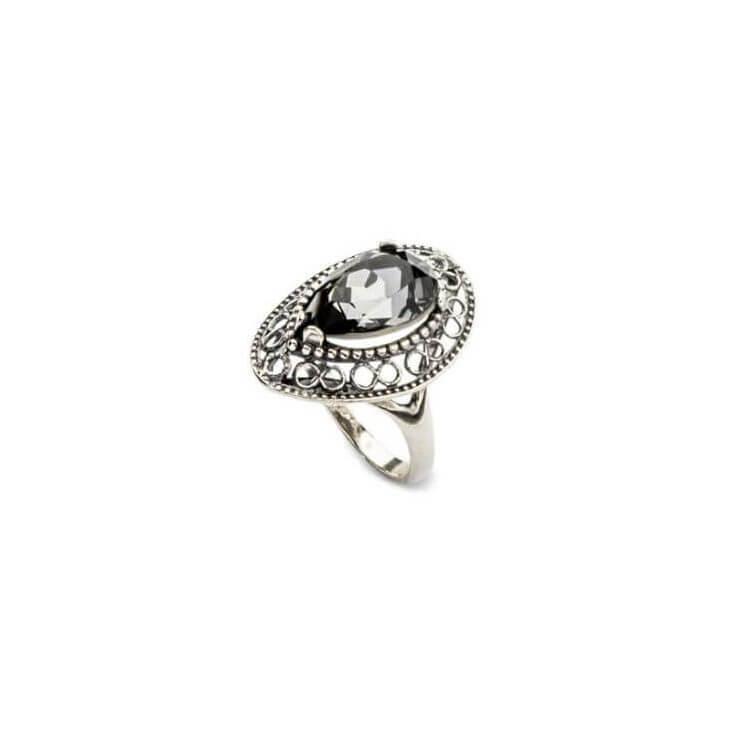 Srebrny pierścionek z kryształami Swarovskiego PK 1725 Silver Night