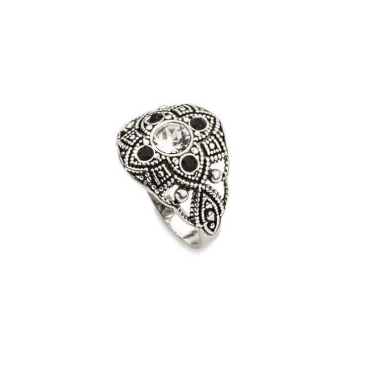 Srebrny pierścionek z kryształami Swarovskiego PK 1809 Crystal Jet