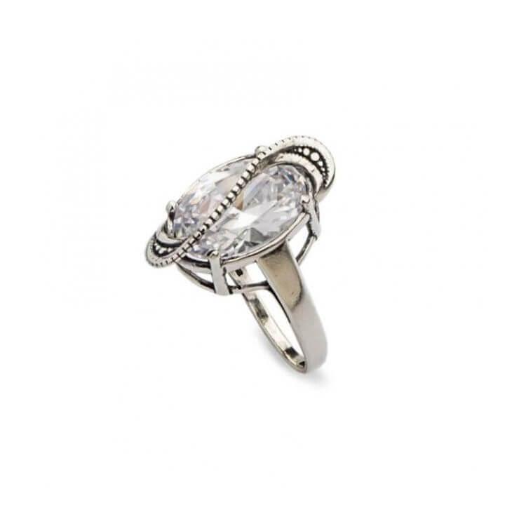 Srebrny pierścionek z białą cyrkonią PK 1817