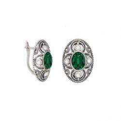 Kolczyki srebrne oksydowane Swarovski K3 1822 Emerald Crystal