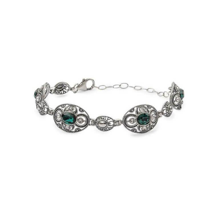 Bransoletka srebrna z kryształami Swarovskiego L 1822