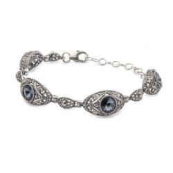 Bransoletka srebrna z kryształami Swarovskiego L 1828 Montana Crystal