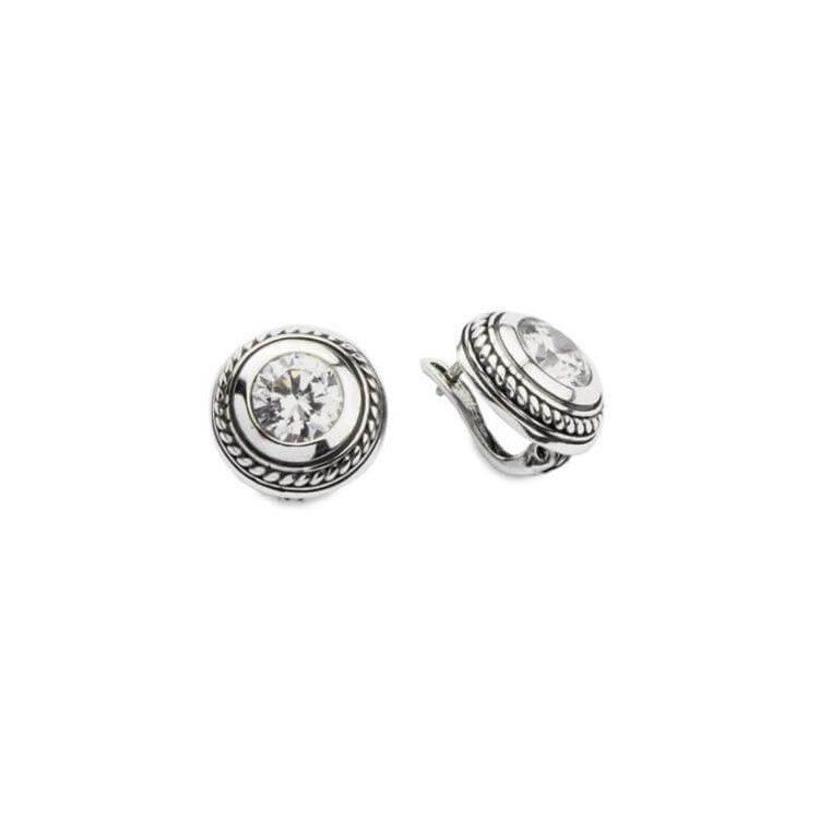 Kolczyki srebrne oksydowane z białą cyrkonią K3 1532