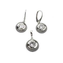 Kolczyki srebrne oksydowane z cyrkonią K 1531