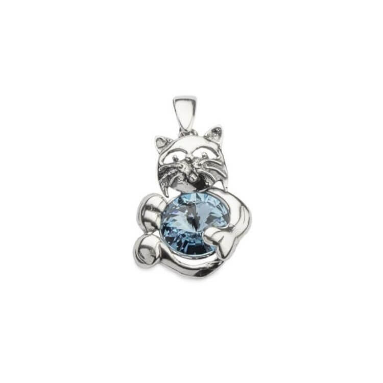 Srebrny wisiorek z kryształami Swarovskiego KOT W 1203 Aquamarine
