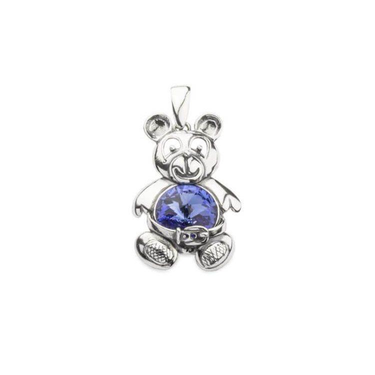 Srebrny wisiorek MIŁš z kryształami Swarovskiego W 1201 Sapphire
