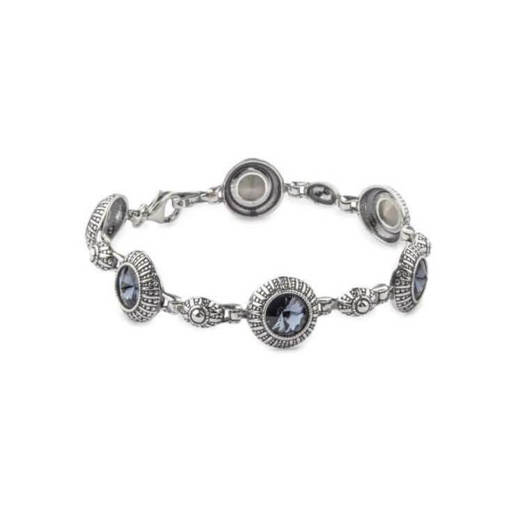 Srebrna bransoletka z kryształami Swarovski Denim Blue Rivoli L 1850