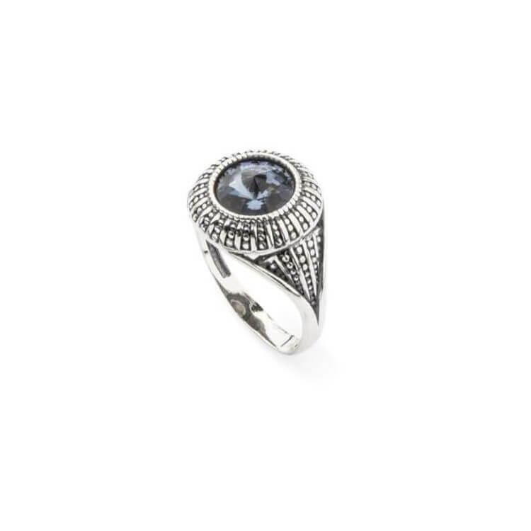 Srebrny pierścionek z kryształem Swarovski Denim Blue Rivoli PK 1850