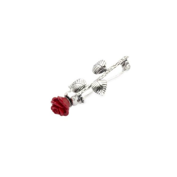 Srebrna broszka Czerwona Róża B 69